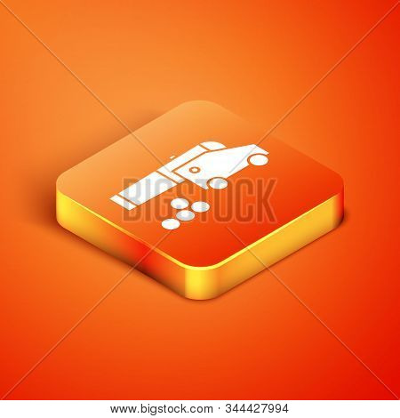 Isometric Cannon With Cannonballs Icon Isolated On Orange Background. Medieval Weapons. Vector Illus