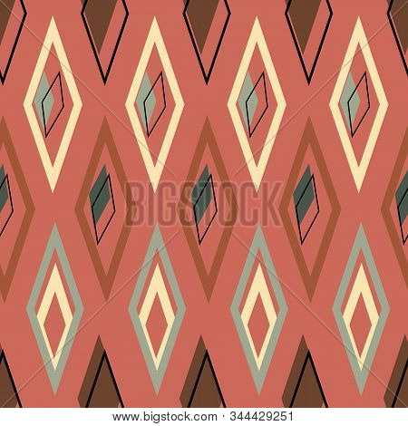 Scorched Desert Diamonds On Terra Cotta Background Seamless Vector Repeat Surface Pattern Design