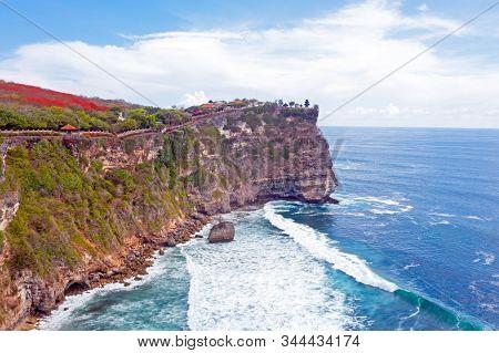 Aerial from Uluwatu temple on the rock in Bali Indonesia