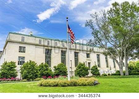 Washington, Dc, United States - May 27, 2019 National Academy Of Sciences Nas Building Us Flag Const
