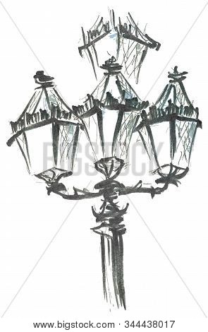 Streetlight Close Up Hand Drawn Marker Sketch Isolated On White Background Eps10 Vector Illustration
