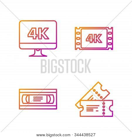 Set Line Cinema Ticket , Vhs Video Cassette Tape , Computer Pc Monitor With 4k Video Technology And