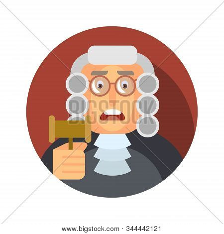 Vector Illustration. Flat Icon With The Image Of A Judge With A Hammer.