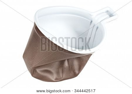 Standing Crumpled Unused Disposable White Plastic Mug With Brown Satin Texture On The Outside Isolat