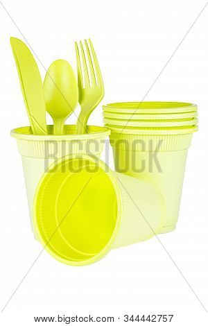 Unused Green Disposable Cups With Knife, Spoon And Fork Made Of Biodegradable Materials Isolated On