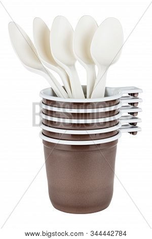 Set Of Five Unused Disposable White Plastic Mugs With Brown Satin Texture On The Outside With Five W
