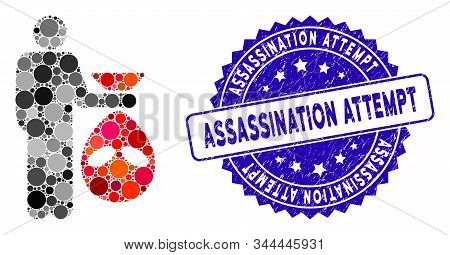 Mosaic Alien Scalp Icon And Rubber Stamp Watermark With Assassination Attempt Text. Mosaic Vector Is
