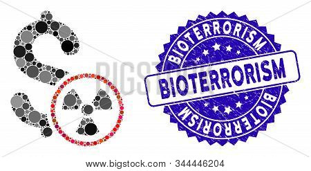Mosaic Atomic Credit Icon And Rubber Stamp Watermark With Bioterrorism Caption. Mosaic Vector Is Com