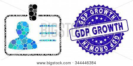Mosaic Badge Icon And Rubber Stamp Seal With Gdp Growth Caption. Mosaic Vector Is Created With Badge
