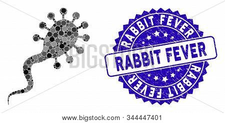 Mosaic Bloodsucker Icon And Grunge Stamp Seal With Rabbit Fever Phrase. Mosaic Vector Is Formed From