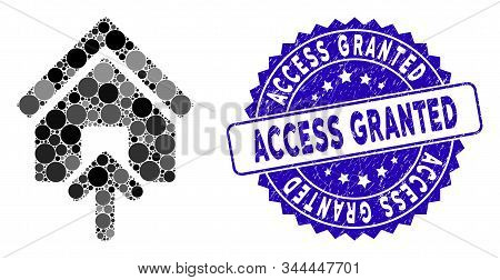 Mosaic Building Entrance Icon And Grunge Stamp Watermark With Access Granted Caption. Mosaic Vector