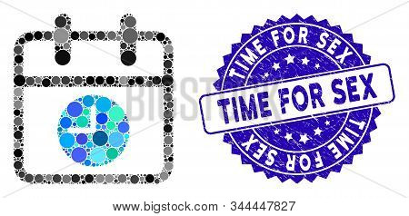 Collage Calendar Page And Time Icon And Rubber Stamp Watermark With Time For Sex Text. Mosaic Vector