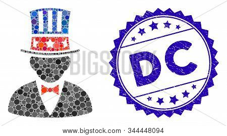 Mosaic Capitalist Icon And Grunge Stamp Seal With Dc Caption. Mosaic Vector Is Composed With Capital