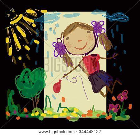 Vector Graphics. Children Drawing Girl. Happy Child