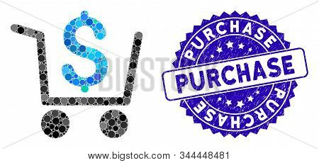 Collage Checkout Icon And Grunge Stamp Watermark With Purchase Caption. Mosaic Vector Is Created Wit