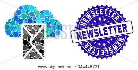 Mosaic Cloud Mail Icon And Rubber Stamp Watermark With Newsletter Caption. Mosaic Vector Is Formed W