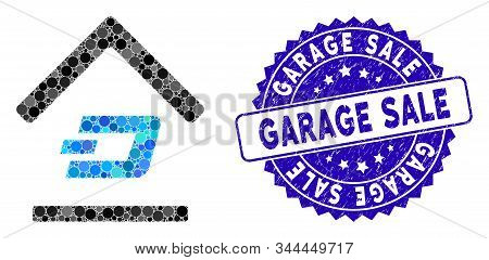 Mosaic Dash Garage Icon And Grunge Stamp Seal With Garage Sale Text. Mosaic Vector Is Composed With