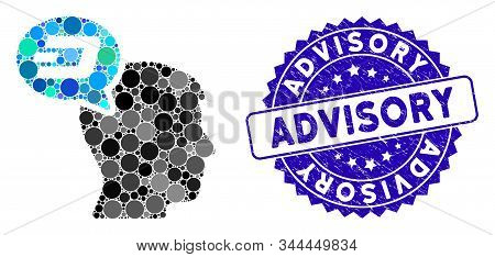 Mosaic Dash Thinking Balloon Icon And Grunge Stamp Seal With Advisory Caption. Mosaic Vector Is Comp