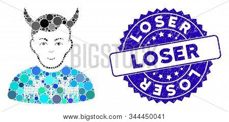 Mosaic Deers Pullover Horned Husband Icon And Corroded Stamp Seal With Loser Caption. Mosaic Vector