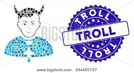 Mosaic Devil Priest Icon And Rubber Stamp Watermark With Troll Caption. Mosaic Vector Is Composed Wi