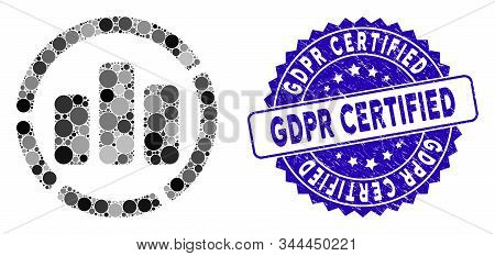Mosaic Diagram Icon And Grunge Stamp Seal With Gdpr Certified Phrase. Mosaic Vector Is Formed With D
