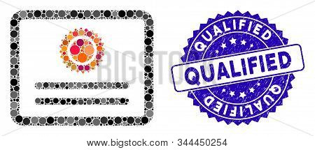 Collage Diploma Icon And Grunge Stamp Watermark With Qualified Phrase. Mosaic Vector Is Designed Wit