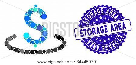 Mosaic Dollar Location Icon And Rubber Stamp Seal With Storage Area Phrase. Mosaic Vector Is Compose