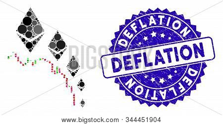 Collage Ethereum Deflation Chart Icon And Rubber Stamp Seal With Deflation Phrase. Mosaic Vector Is