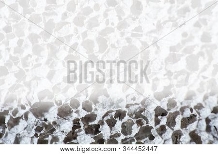 Foam Concrete Blocks Wall Closeup. Lightweight Construction Brick. Lightweight Foamed Gypsum Block.