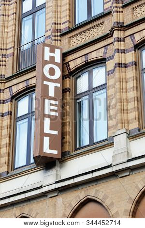 Malmo, Sweden - September 3, 2019: Hotel Sign In Swedish Outside A Hotel In The Downtown District.