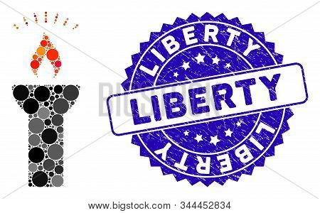 Mosaic Fire Torch Light Icon And Corroded Stamp Seal With Liberty Phrase. Mosaic Vector Is Created W