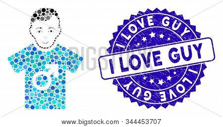Mosaic Guy Icon And Rubber Stamp Watermark With I Love Guy Caption. Mosaic Vector Is Composed With G