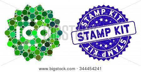 Mosaic Ico Token Icon And Distressed Stamp Watermark With Stamp Kit Text. Mosaic Vector Is Formed Wi