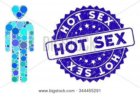 Mosaic Lover Man Icon And Distressed Stamp Seal With Hot Sex Text. Mosaic Vector Is Designed From Lo
