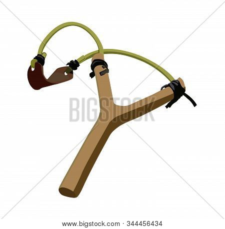 Simple Slingshot Vector Illustration Isolated Realistic Vector Illustration Isolated