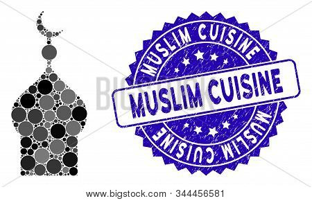 Collage Muslim Church Icon And Grunge Stamp Watermark With Muslim Cuisine Phrase. Mosaic Vector Is C