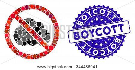 Mosaic No Clouds Icon And Grunge Stamp Seal With Boycott Text. Mosaic Vector Is Designed From No Clo