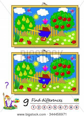 Find 9 Differences. Illustration Of Summer Garden. Logic Puzzle Game For Children And Adults. Printa