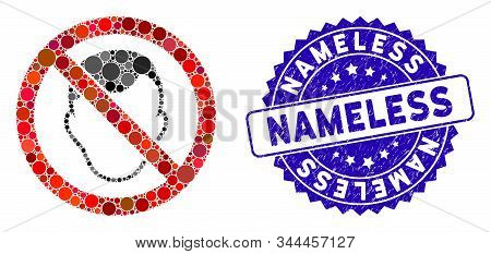 Mosaic No Face Icon And Grunge Stamp Seal With Nameless Text. Mosaic Vector Is Formed With No Face I