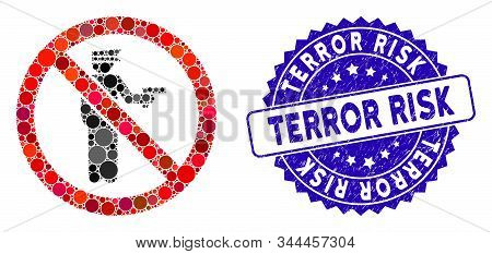 Mosaic No Police Gun Icon And Distressed Stamp Watermark With Terror Risk Text. Mosaic Vector Is Cre