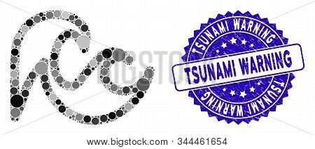 Mosaic Tsunami Icon And Grunge Stamp Seal With Tsunami Warning Caption. Mosaic Vector Is Composed Fr