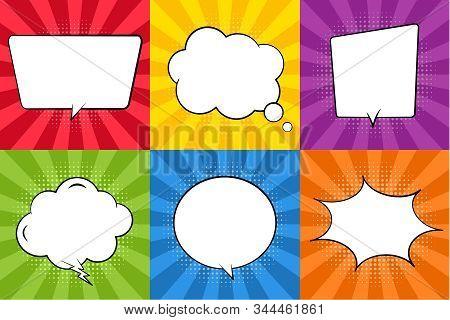 Retro Comic Speech Bubble. Chat Cloud For Text On Sunrise Background. Vintage Empty Speech Bubble Wi