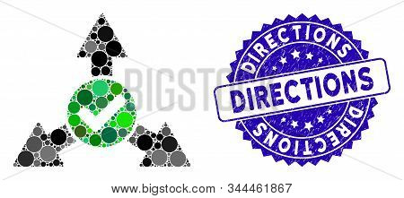 Collage Valid Directions Icon And Distressed Stamp Seal With Directions Caption. Mosaic Vector Is Co