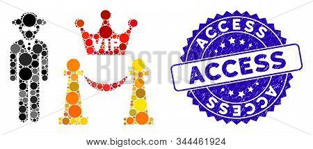 Mosaic Vip Access Icon And Corroded Stamp Seal With Access Text. Mosaic Vector Is Composed With Vip