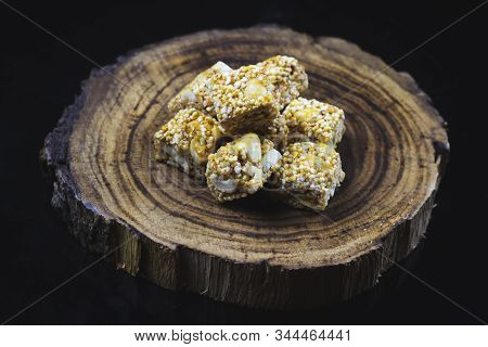 Tilgul Or Sweet Sesame Laddu For Indian Festival Makar Sankranti, Sesame Seed Ball And Tilgul. Speci