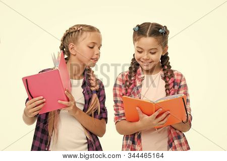 Reading Skills. Cute Small Children Holding Books. Adorable Little Girls With School Exercise Books.