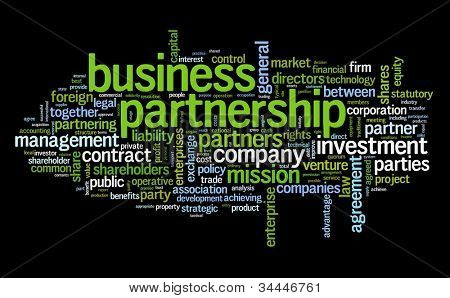Business partnership concept in tag cloud on black
