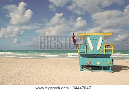 Miami Beach Colorful Lifeguard Towers. Quirky Iconic Structures. Lifeguard Towers South Beach Unique