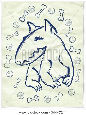 Hand drawn  bull terrier, on the old paper, with stones and ball