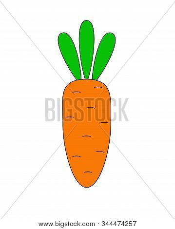 Carrots Are Vegan Food. A Small, Cartoony, Stylized Carrot Is An Ingredient. Vector Stylized Carrot